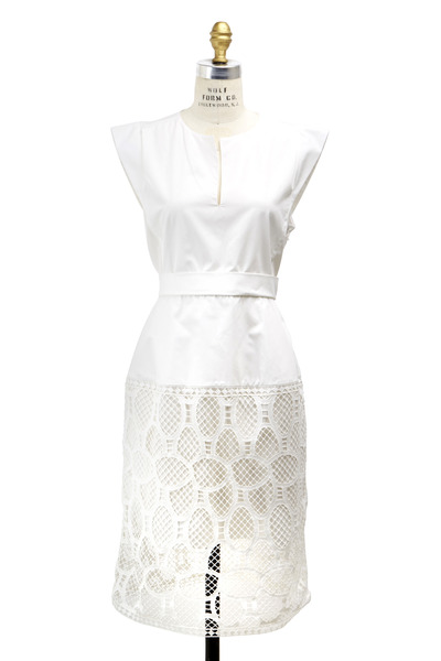 Chloé - White Tennis Lace Cotton Bodice Poplin Dress