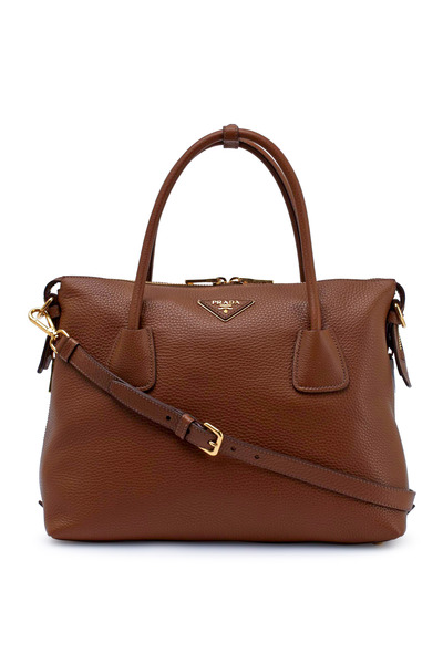 Prada - Brandy Pebbled Leather Tote