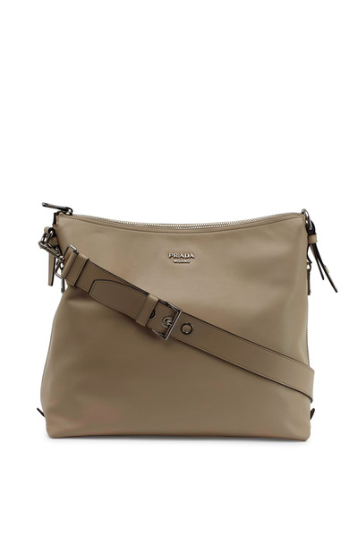 Prada - Nude Leather Slouch Hobo
