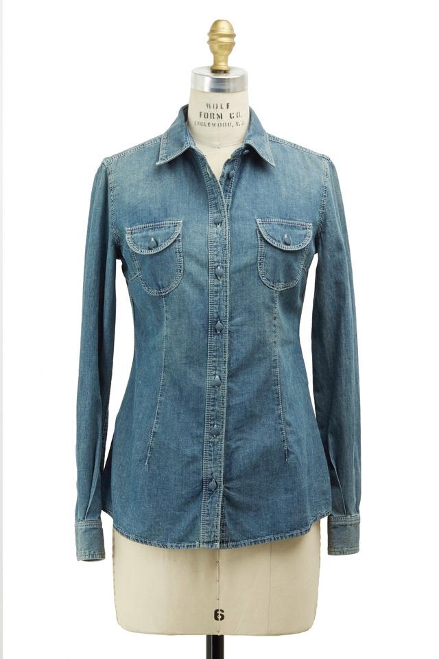Blue Fitted Denim Shirt