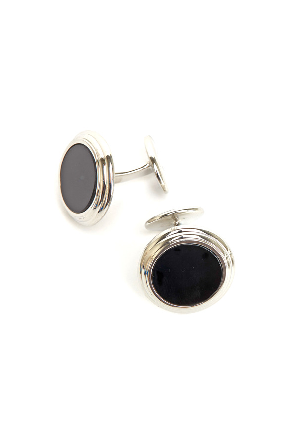 David Donahue Sterling Silver Black Onyx Cuff Links & Stud Set