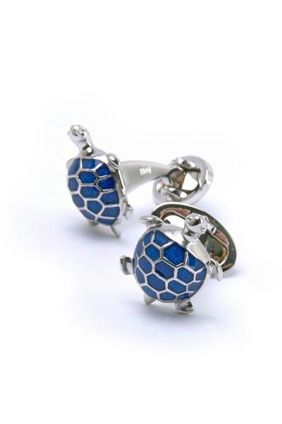 Jan Leslie - Sterling Silver Blue Turtle Cuff Links