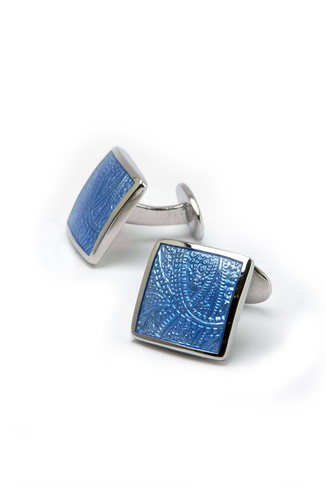 Sterling Silver Blue Paisley Cuff Links