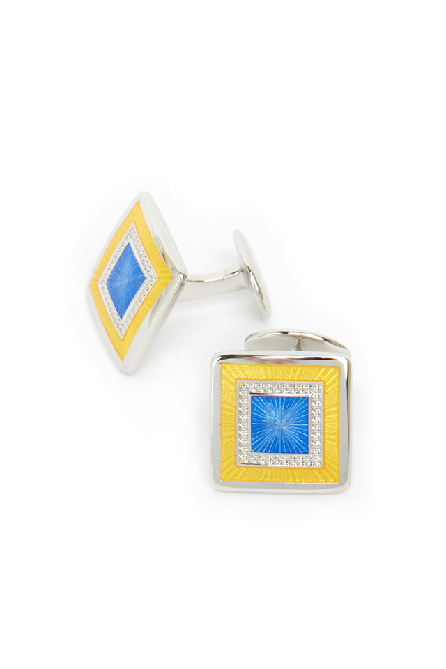 Sterling Silver Blue & Yellow Square Cuff Links