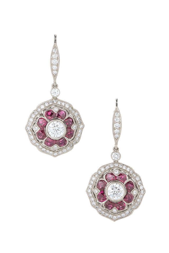 Vintage White Gold Diamond Dangle Earrings