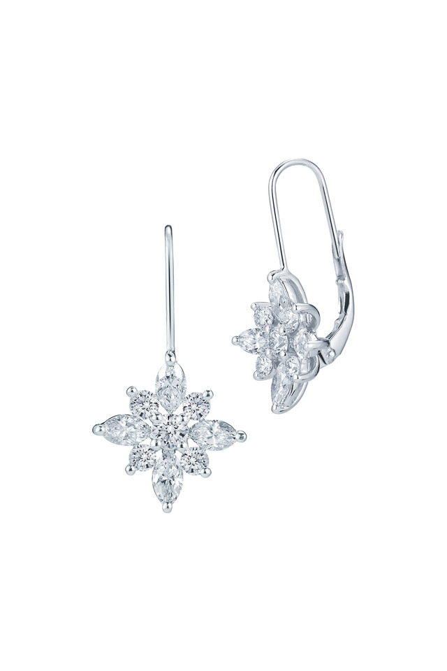 Star White Gold & Platinum Diamond Earrings