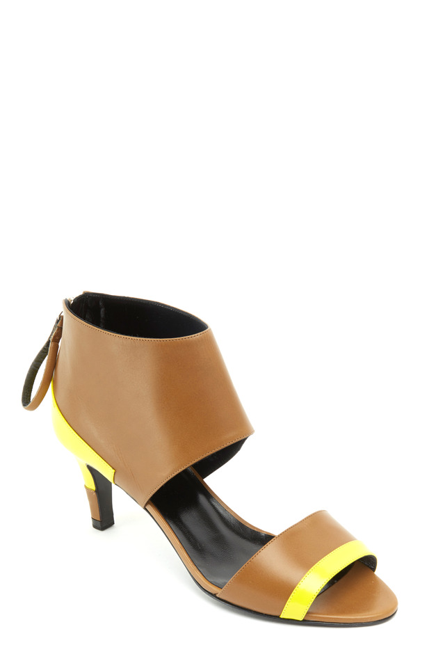 Neon Yellow & Camel Cuff Leather Sandals