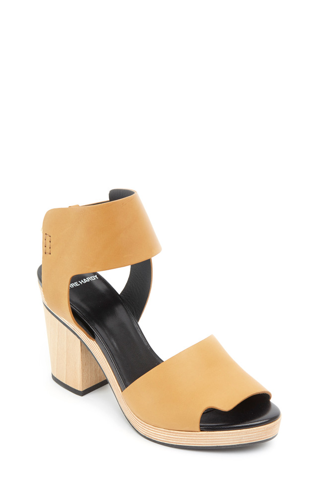 Natural Calf Leather Stack Heel Sandals