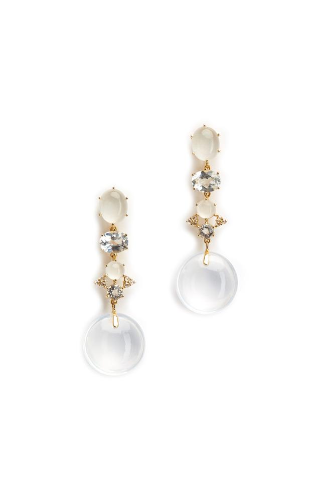 Gold Silvolite Topaz Diamond Odalisque Earrings
