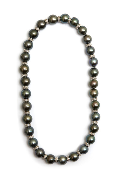 Kathleen Dughi - Uffizzi White Gold Black Pearl Strand Necklace
