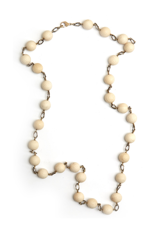 Yellow Gold & Silver Mammoth Ball Chain Necklace