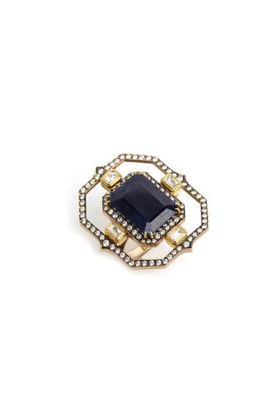 Sylva & Cie - White & Yellow Gold Sapphire Diamond Ring