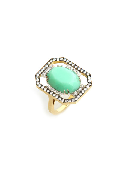 Sylva & Cie - Yellow Gold & Platinum Chrysoprase Diamond Ring
