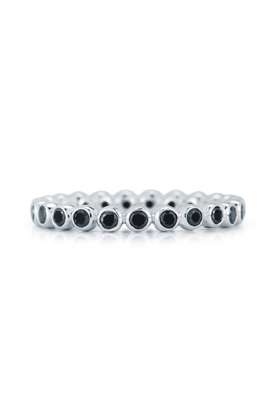 Kwiat - Vintage White Gold Black Diamond Stack Ring