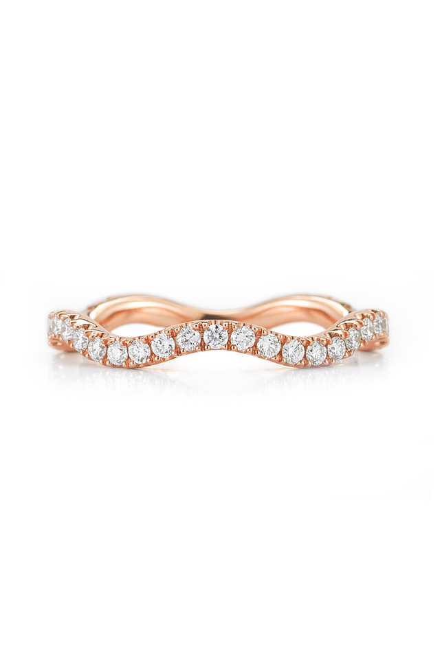 Pink Gold Diamond Wave Stack Ring