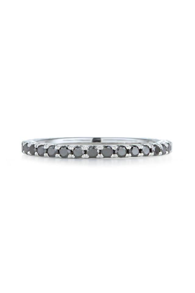 White Gold Black Diamond Stackable Ring