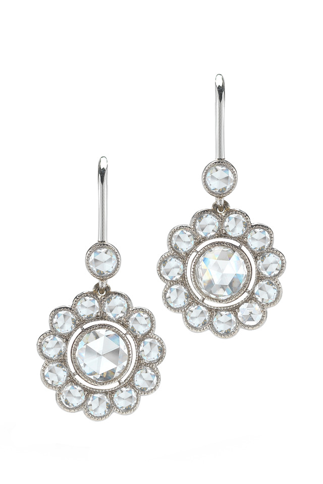 White Gold Diamond Flower Drop Earrings