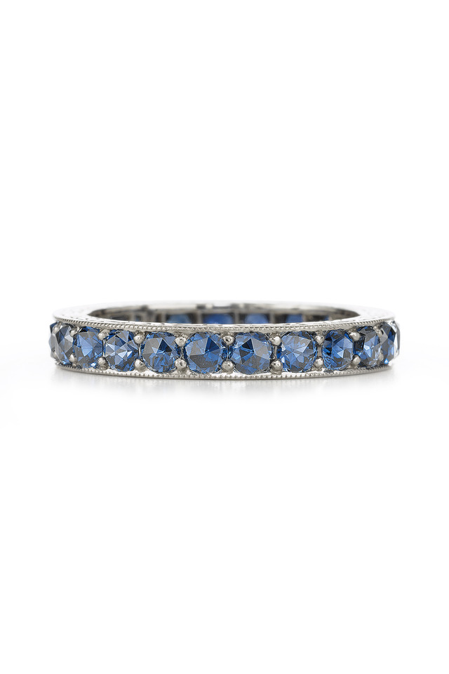 White Gold Blue Sapphire Stack Ring