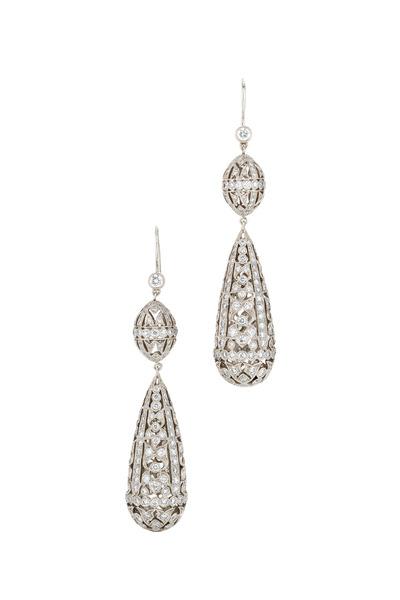 Kwiat - Vintage White Gold Diamond Drop Earrings