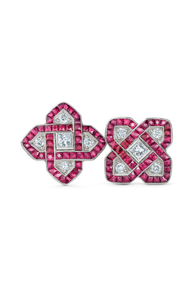 Kwiat - 18K White Gold Ruby & Diamond Earrings