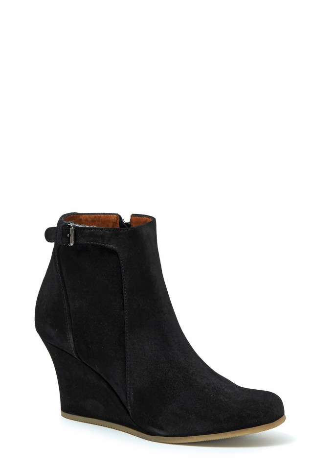 Black Suede Wedge Ankle Boot, 80mm