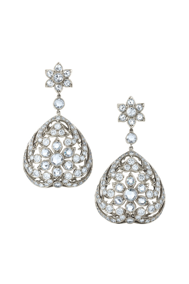 Vintage White Gold Diamond Earrings