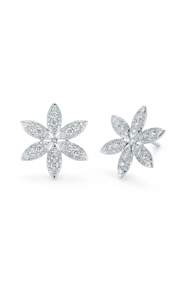 White Gold Diamond Pinwheel Stud Earrings