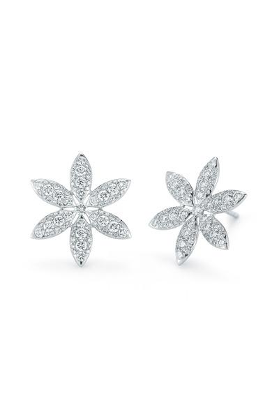Kwiat - White Gold Diamond Pinwheel Stud Earrings