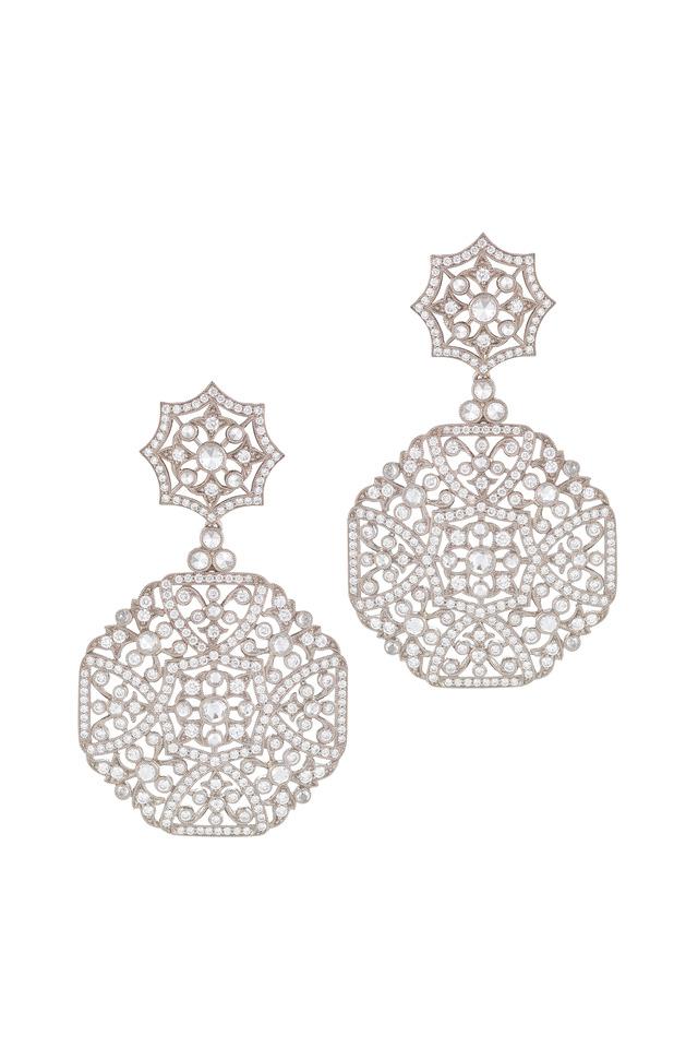 Vintage White Gold Diamond Drop Earrings
