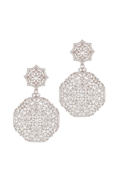 Kwiat - Vintage White Gold Diamond Drop Earrings