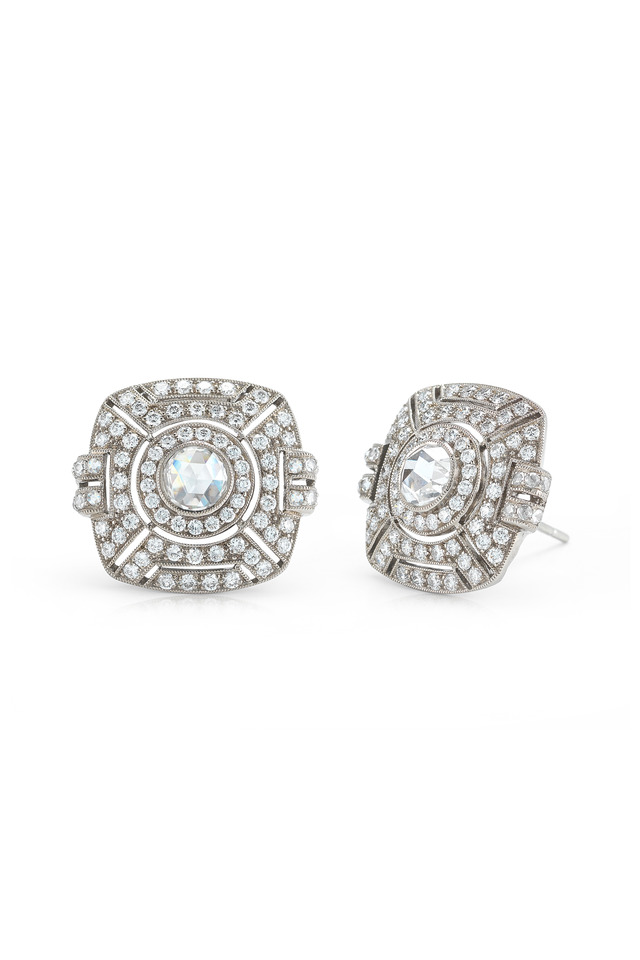 Vintage White Gold Diamond Stud Earrings