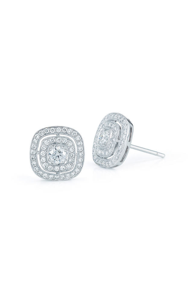 Silhouette White Gold Diamond Stud Earrings