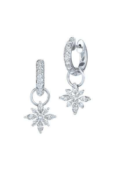 Kwiat - 18K White Gold Diamond Huggie Drop Earrings