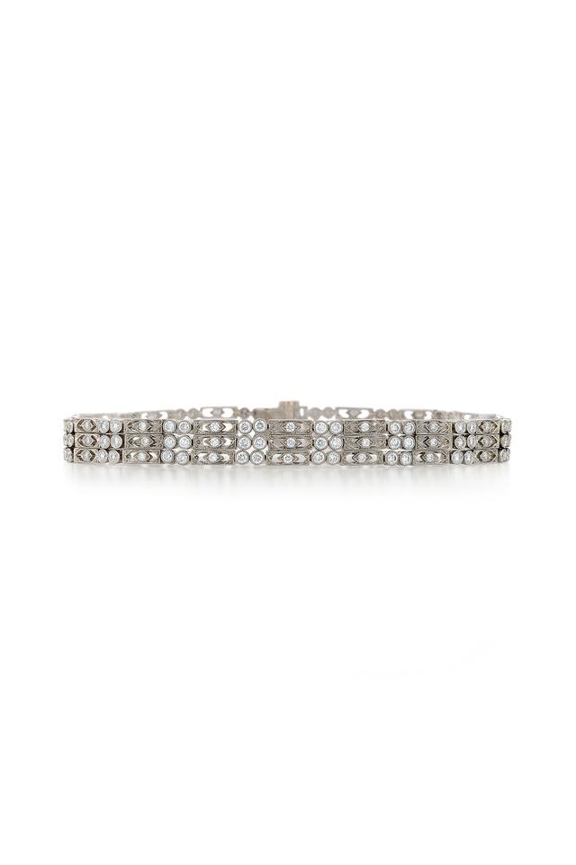 Vintage White Gold 3 Row Diamond Bracelet