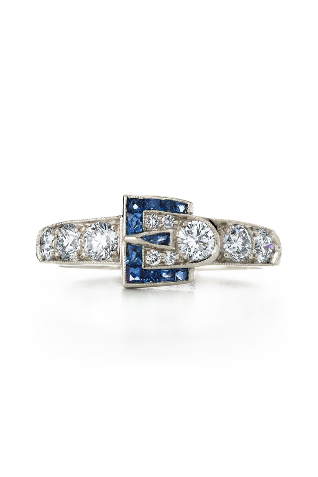 Vintage White Gold Sapphire Diamond Buckle Ring