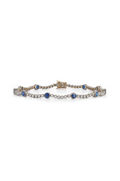 Kwiat - Vintage White Gold Sapphire Diamond Line Bracelet