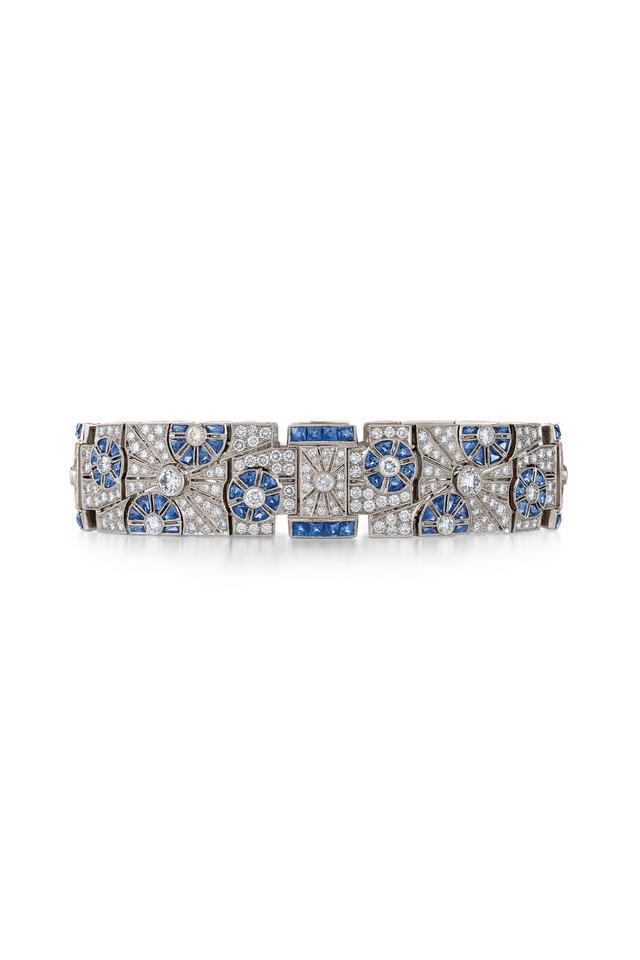Vintage White Gold Sapphire Diamond Wide Bracelet