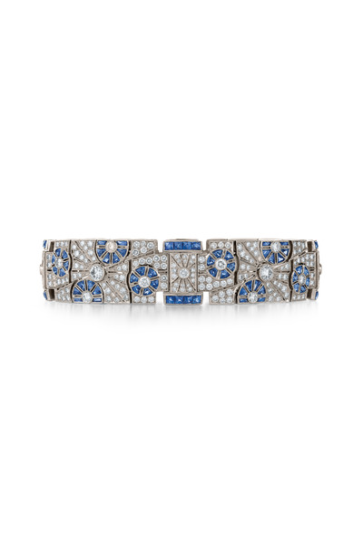 Kwiat - Vintage White Gold Sapphire Diamond Wide Bracelet