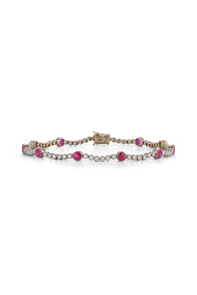 Vintage White Gold Ruby Diamond Line Bracelet