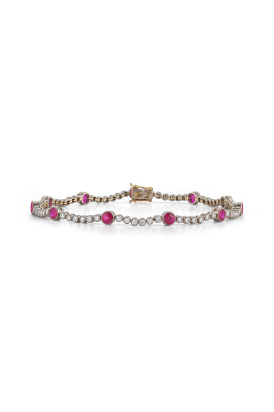 Kwiat - Vintage White Gold Ruby Diamond Line Bracelet