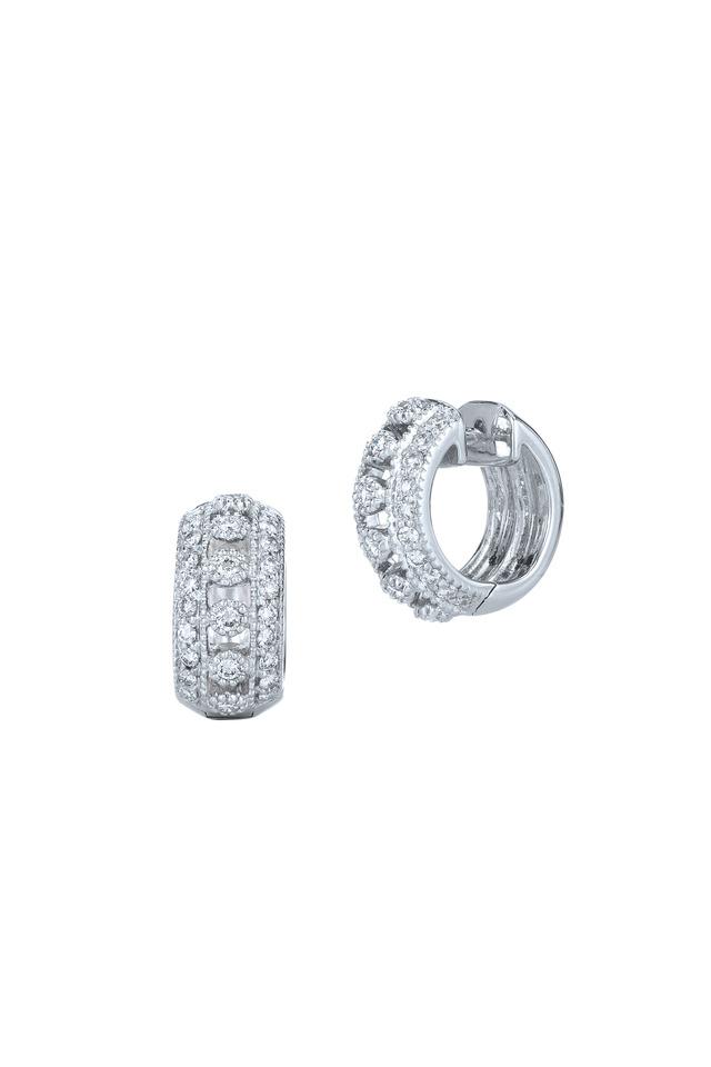 Stardust White Gold White Diamond Huggie Earrings