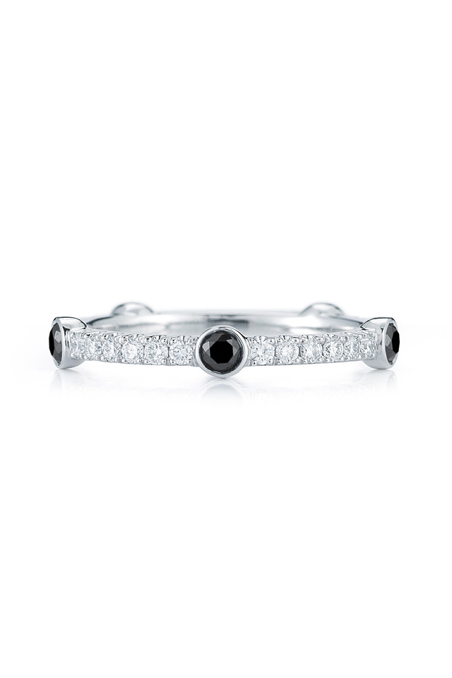 18K White Gold Black & White Diamond Band