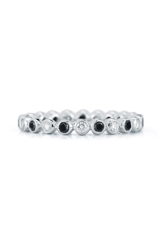 White Gold Bezel Set Black Diamond Band