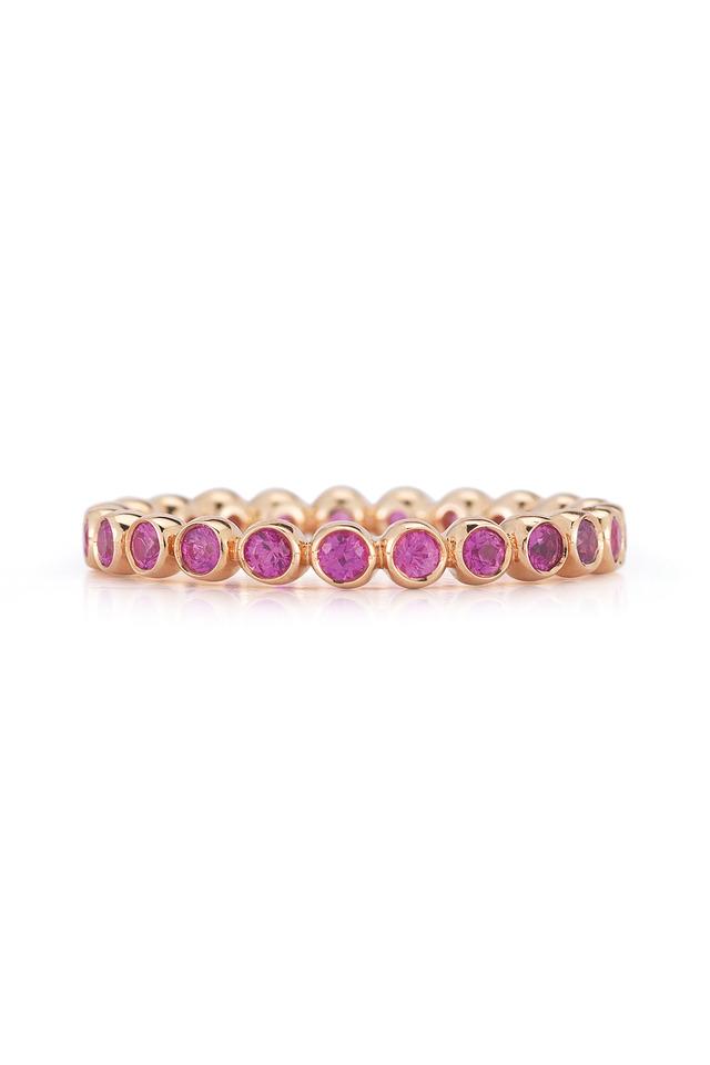 Pink Gold Bezel Set Pink Sapphire Band