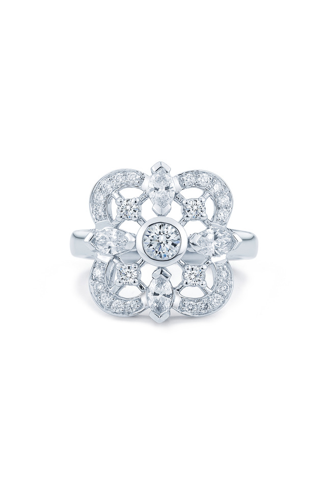 Clover White Gold Fancy Diamond Ring