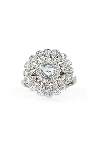 Kwiat - Vintage White Gold Fancy Diamond Sunburst Ring
