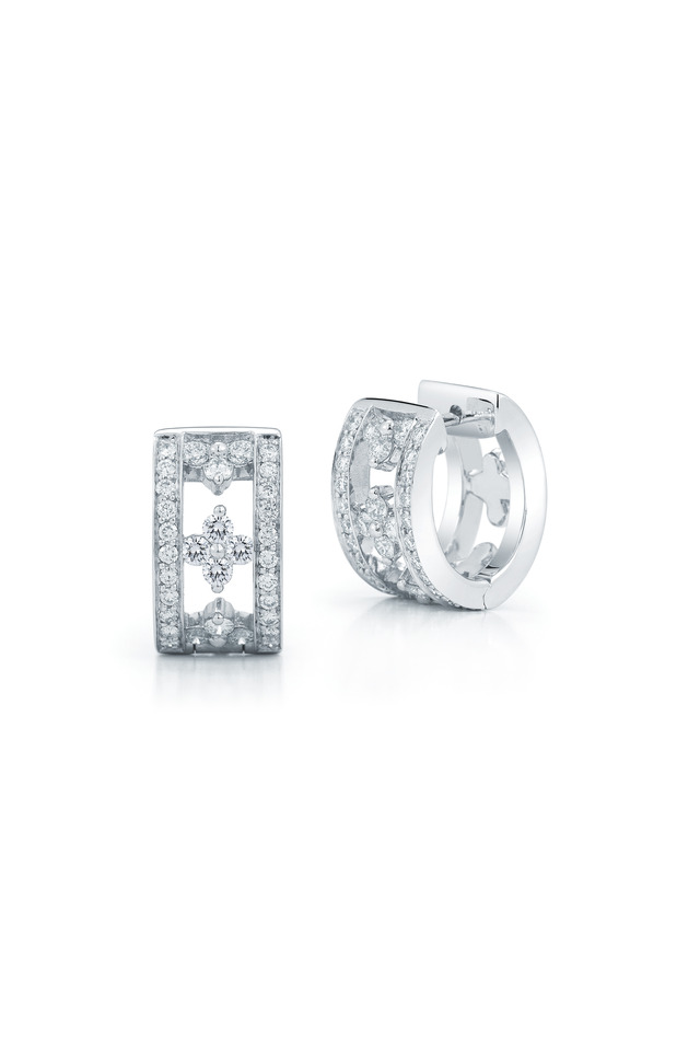 Jasmine White Gold Diamond Huggie Earrings