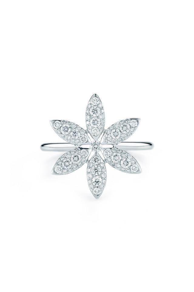 Pinwheel White Gold White Diamond Ring