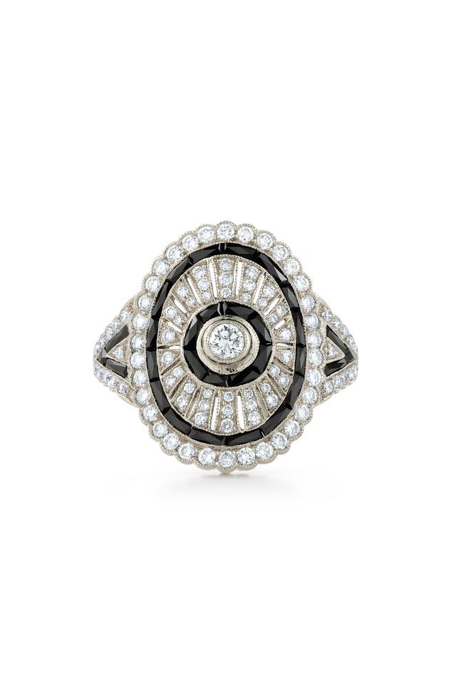 Vintage White Gold Black Onyx Shield Diamond Ring