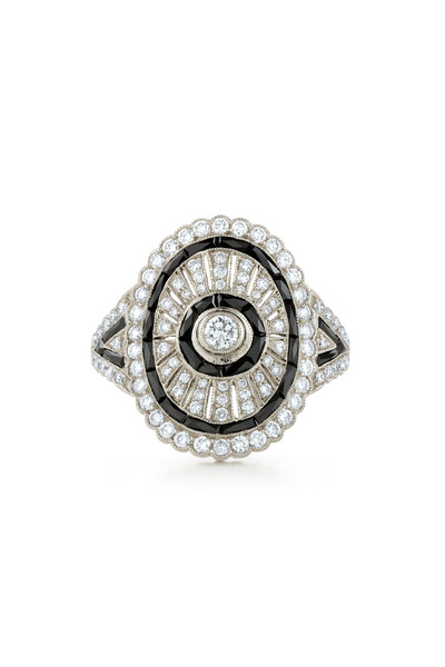 Kwiat - Vintage White Gold Black Onyx Shield Diamond Ring